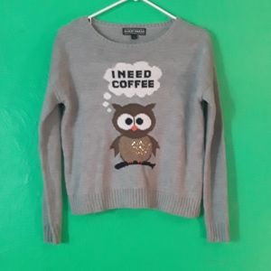 Almost Famost Grey Owl Sweater